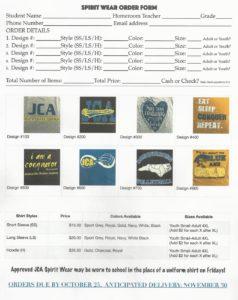 spiritwear order form 2018